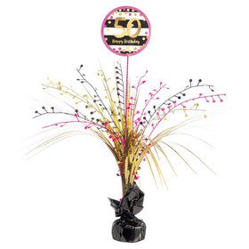 Pink & Gold 50th Birthday Spray Centerpiece (1)