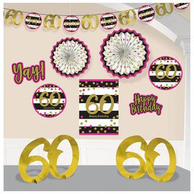 Pink & Gold 60th Birthday Room Decorating Kit (10 Pieces)