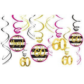 Pink & Gold 60th Birthday Swirl Decorations (12)