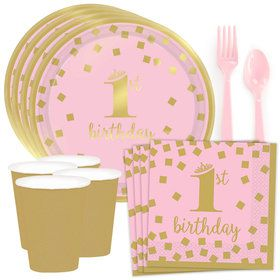 Pink & Gold Confetti 1st Birthday Standard Tableware Kit (Serves 8)