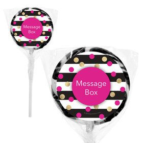 """Pink & Gold Personalized 2"""" Lollipops (20 Pack)"""