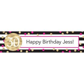 Pink & Gold Personalized Add-An-Age Banner (Each)