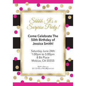 Pink & Gold Personalized Invitation (Each)