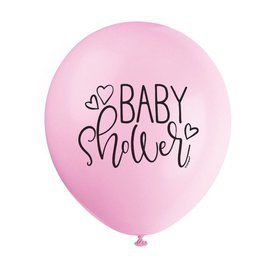 """Pink Hearts Baby Shower 12"""" Latex Balloons (8)"""