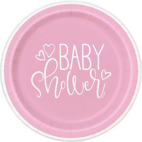 """Pink Hearts Baby Shower 9"""" Lunch Plate (8)"""