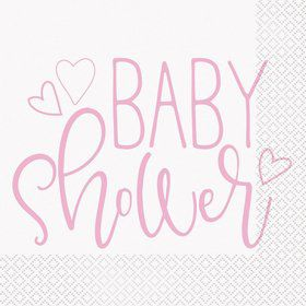 Pink Hearts Baby Shower Lunch Napkin (16)