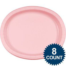 Pink Heavy Duty Paper Oval Platter (8 Pack)