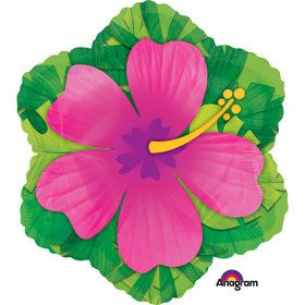 "Pink Hibiscus 18"" Balloon (Each)"