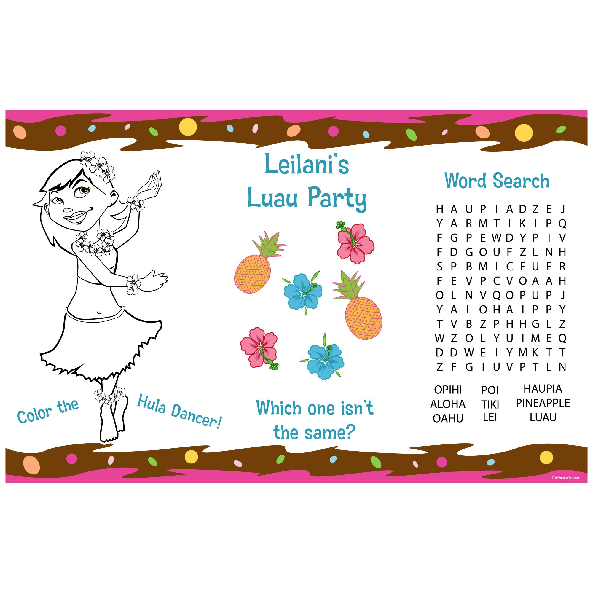 Pink Luau Fun Personalized Activity Mat (8 Pack) BB1351AM