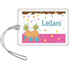 Pink Luau Fun Personalized Bag Tag (Each)