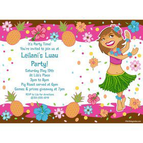 Pink Luau Fun Personalized Invitation (Each)