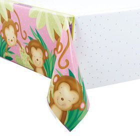 Pink Monkey Plastic Table Cover (Each)