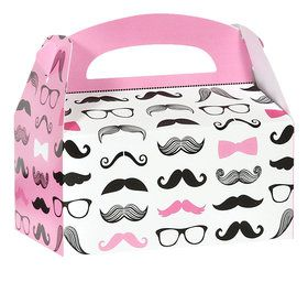 Pink Mustache Empty Favor Boxes (4)