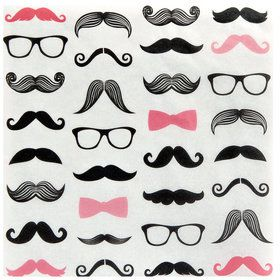 Pink Mustache Lunch Napkins (20)