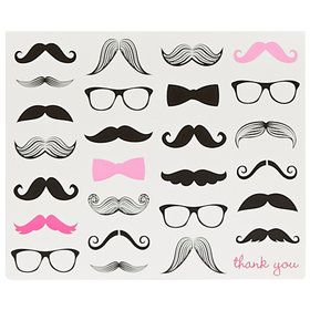 Pink Mustache Thank You Notes (8)