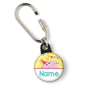 "Pink Peppy Pig Personalized 1"" Carabiner (Each)"
