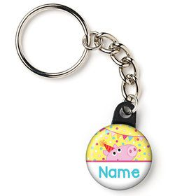 "Pink Peppy Pig Personalized 1"" Mini Key Chain (Each)"