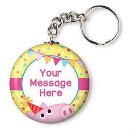 "Pink Peppy Pig Personalized 2.25"" Key Chain (Each)"