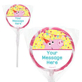 "Pink Peppy Pig Personalized 2"" Lollipops (20 Pack)"