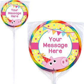 Pink Peppy Pig Personalized Lollipops (12 Pack)