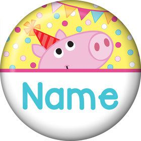 Pink Peppy Pig Personalized Mini Button (Each)