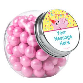 Pink Peppy Pig Personalized Plain Glass Jars (10 Count)