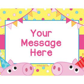 Pink Peppy Pig Personalized Rectangular Stickers (Sheet of 15)