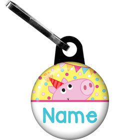 Pink Peppy Pig Personalized Zipper Pull (Each)