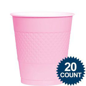 Pink Plastic Cups, 12 oz. 20 ct.