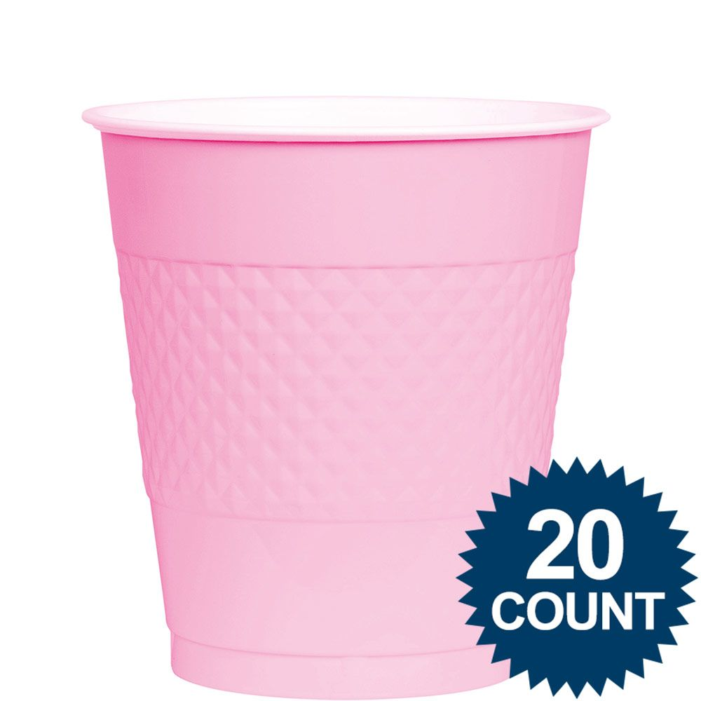 Pink Plastic Cups, 12 Oz. 20 Ct. BB43036109