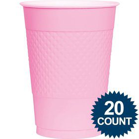 Pink Plastic Cups, 16 oz. 20 ct.