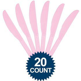 Pink Plastic Knives 20 ct