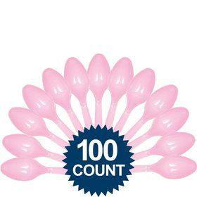 Pink Plastic Spoons - Party Pack 100 ct