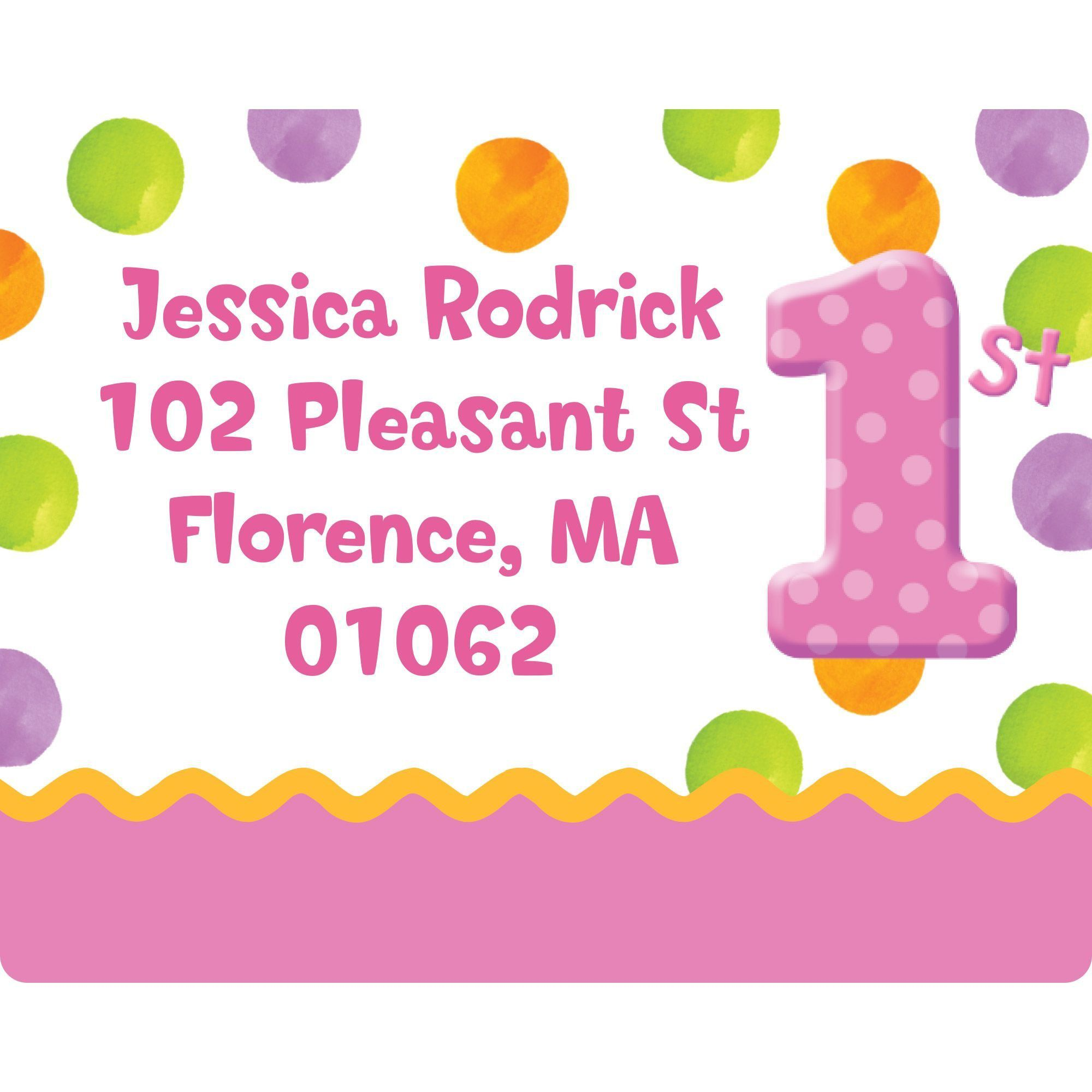 pink polka dot 1st birthday party personalized address labels