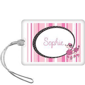 Pink Poodle Personalized Bag Tag (each)