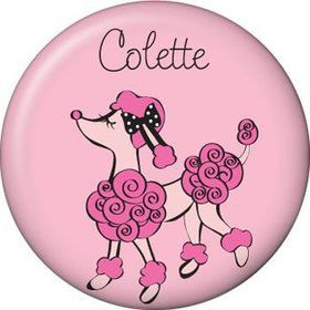 Pink Poodle Personalized Mini Magnet (each)