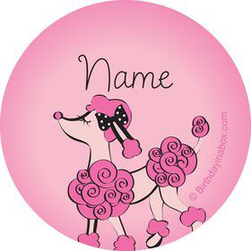 Pink Poodle Personalized Mini Stickers (Sheet of 20)
