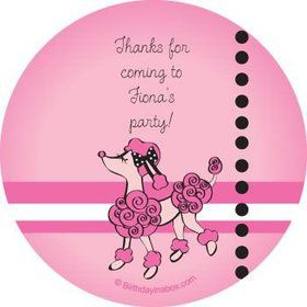Pink Poodle Personalized Stickers (sheet of 12)