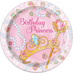 """Pink Princess 9"""" Lunch Plates (8 Count)"""