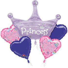 Pink Princess Balloon Bouquet (5 pack)