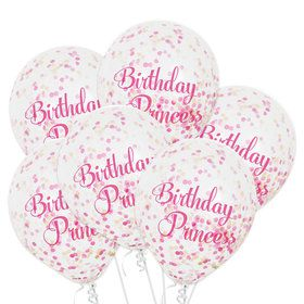 Pink Princess Confetti Balloons (6 Count)