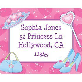 Pink Princess Party Personalized Address Labels (sheet of 15)
