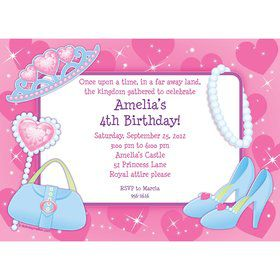 Pink Princess Party Personalized Invitation (each)