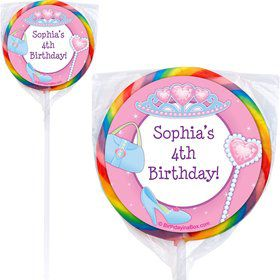 Pink Princess Party Personalized Lollipop (PACK OF 12)