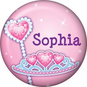 Pink Princess Party Personalized Mini Button (each)