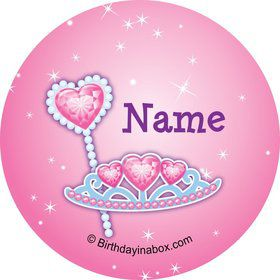 Pink Princess Party Personalized Mini Stickers (Sheet of 24)