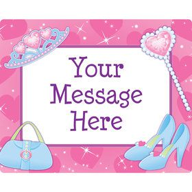Pink Princess Party Personalized Rectangular Stickers (Sheet of 15)