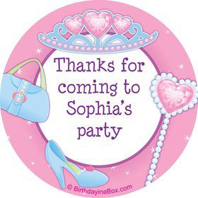 Pink Princess Party Personalized Sticker (sheet of 12)