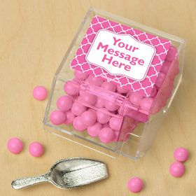 Pink Quatrefoil Personalized Candy Bin with Candy Scoop (10 Count)