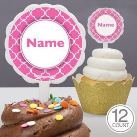 Pink Quatrefoil Personalized Cupcake Picks (12 Count)
